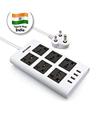 Maximm Surge Protector Flat Power Strip 6 Universal Outlets with 4 USB Ports, Desktop Charging Station, 4000W/10-16A Multiplug (6.5ft, White) w/India (Type D) Plug