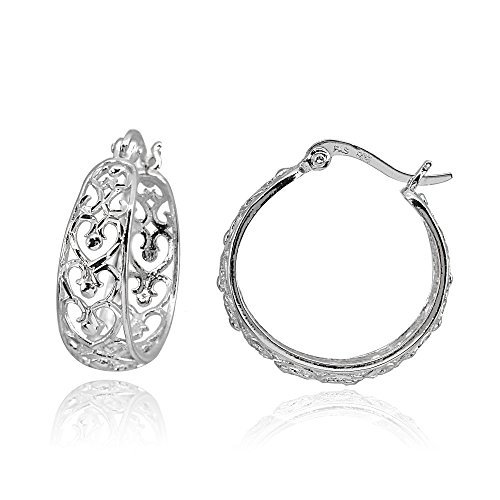 (Sterling Silver Polished Heart Diamond-cut Filigree 20mm Hoop Earrings)