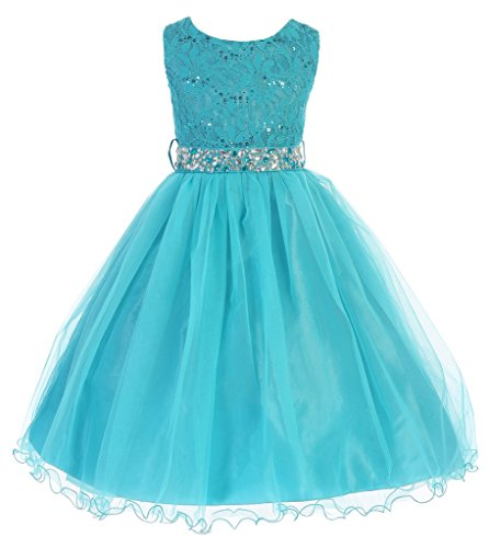 Flower Girl Dresses Teal (iGirlDress Big Girls' Sequin Lace with Tulle Flower Girl Dress 8)