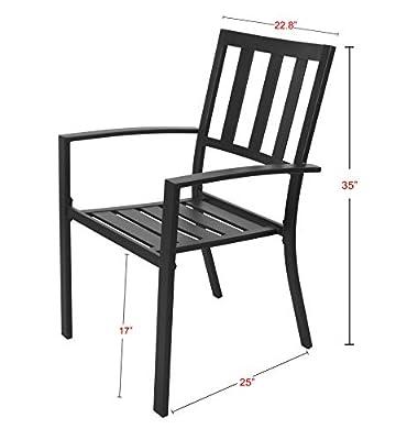 eMerit 3 Piece Outdoor Bistro Sets Metal Patio Furniture, Black