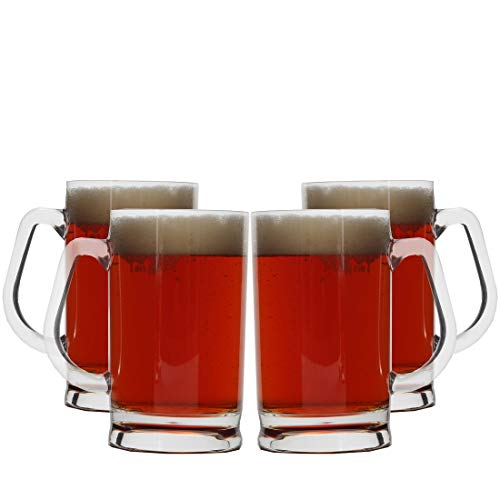 Lily's Home Unbreakable Acrylic Classic Beer Mug, Made of Shatterproof Plastic and Ideal for Indoor and Outdoor Use, Reusable, Crystal Clear (16 oz. Each, Set of ()