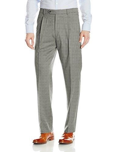 Hart Schaffner Marx Men's Single Pleat Chicago Fit Dress Pant, Black/White 32 Regular ()