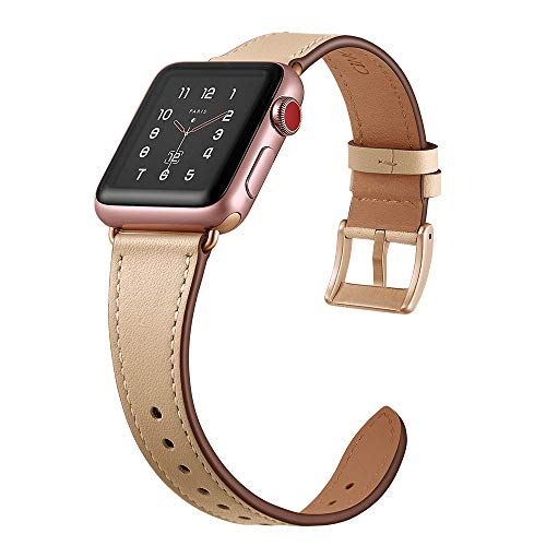 CINORS Leather Band Compatible with Apple iWatch 40mm 38mm Womens Light Pink Leather Strap Slim Design for Apple Watch Series 4 3 2 1, Pink Leather Rose - Leather Nappa Beige