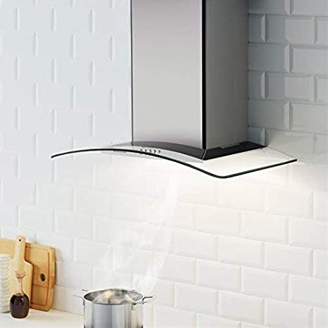CIARRA 60cm Glass Cooker Hood Curved image 3