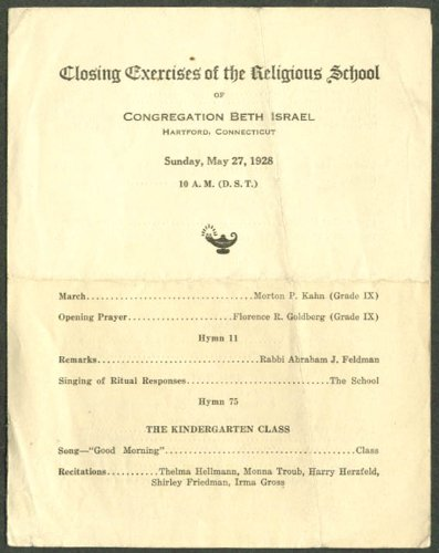 Beth Israel School Closing Exercises 1928 Hartford CT