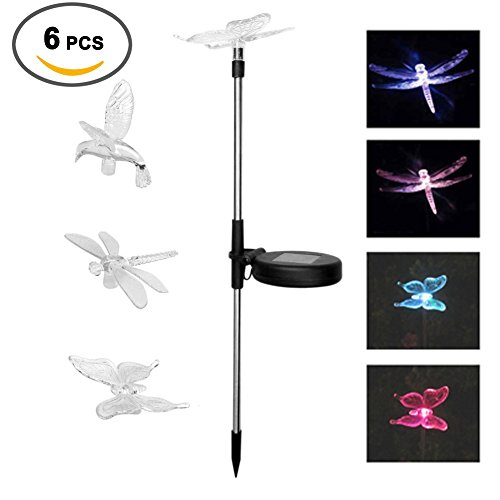 Aquarius CiCi 6 Packs Outdoor Garden Decorative Solar Powered Lights Colorful Landscape Lighting Hummingbird Butterfly Dragonfly Ground Lamp for Patio, Pathway, Lawn, Yard