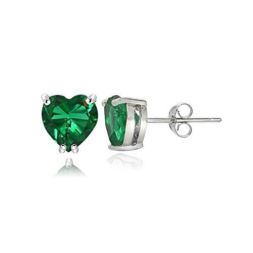 Sterling Silver Created Emerald 5mm Heart Stud Earrings