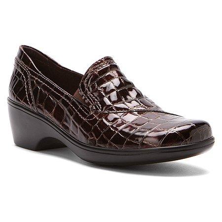 Clarks Women's May Ivy Croco Wedge Dress Shoe Brown 7 M US