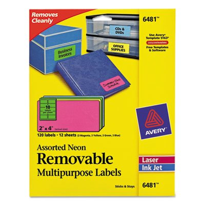 Removable Self-Adhesive Multipurpose Labels, 2 x 4, Assorted Neon, 120/Pack, Sold as 120 ()