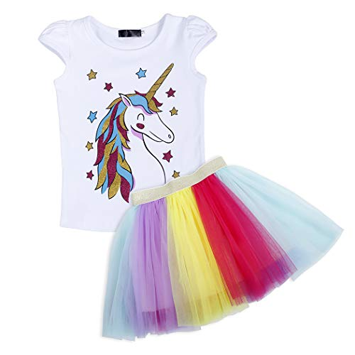 Cotrio Unicorn Dresses for Little Girls Layered Pastel Colorful Tutu Skirt Dressing Up Birthday Clothing Shirts Size 6 (5-6 Years, Multicoloured, 120) -