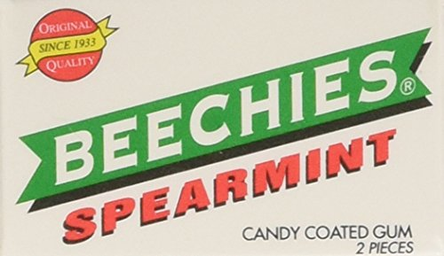 Gum Beechies (BEECHIES! Old Fashion Spearmint Candy Coated Gum 2 Pieces per box - Pack of 100 (Boxed))