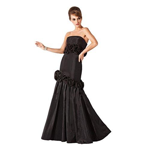 (StarGirl Custom Made Womens Trumpet Mermaid Strapless Floor-Length Taffeta Evening Dress With Flower(s) Black Size 16)