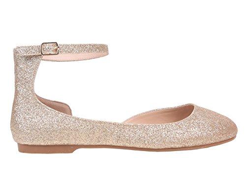 Zapatos Planos De Mujer Zapatos Cerrados Acolchados De Imitación Nobuk Con Punta Cerrada (8.5, Gold-glitter)