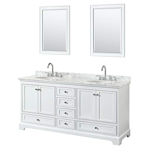 (Wyndham Collection WCS202072DWHCMUNOM24 Deborah Vanity Set, 72 inch, White)