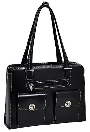 (McKlein USA Verona Leather Laptop Handbag for Women Business Tote in Black)
