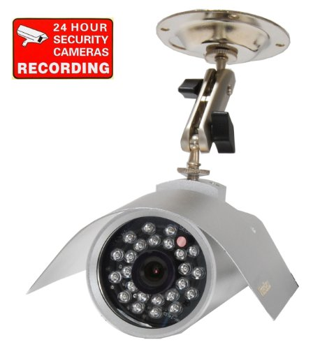 VideoSecu Hi Res CCD IR Day Night Indoor Outdoor Security Infrared Color Bullet Camera with Free Security Warning DeCal 1QF