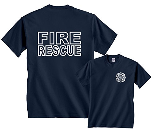 Fair Game Fire Rescue Firefighter Duty Front & Back T-Shirt-Navy-2x