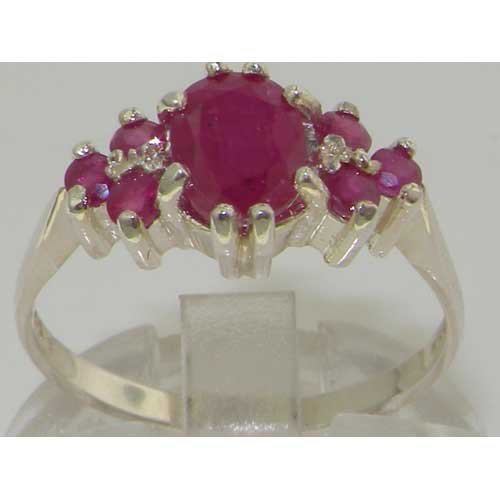 LetsBuyGold 14k White Gold Real Genuine Ruby Womens Band Ring