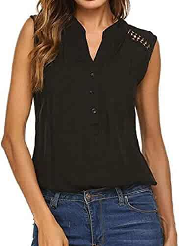 a089ff406 Misaky Women Sleeveless Loose Button Down Shirts V Neck Casual Tops Summer  Blouse