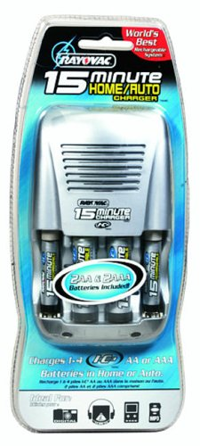Rayovac 15 Minute Home/Auto Charger with 2 AA & 2 AAA Batteries