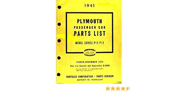 Brilliant 1941 Plymouth Factory Parts Manual Chrysler Corp Parts Division Wiring Cloud Hisonuggs Outletorg