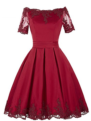 IDEPY Women's Short Sleeves Ball Gowns Appliques Prom Party A-Line Satin Cocktail Dresses 6 Dark Red ()