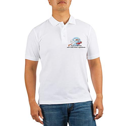 CafePress Stork Baby Costa Rica USA Golf Shirt Golf Shirt, Pique Knit Golf Polo White Caribbean Baby Pique Polo