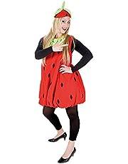 Erdbeerkostüm rot-schwarz für Erwachsene   Einheitsgröße   Einteiler Obst Kostüm mit Hut   Frucht Kostüm Unisex Faschingskostüm   Erdbeer Verkleidung