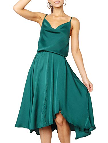Merryfun Women's Satin Slip Camisole Dress with Adjustable Spaghetti Straps Elastic Wrist,Dark Green 2XL