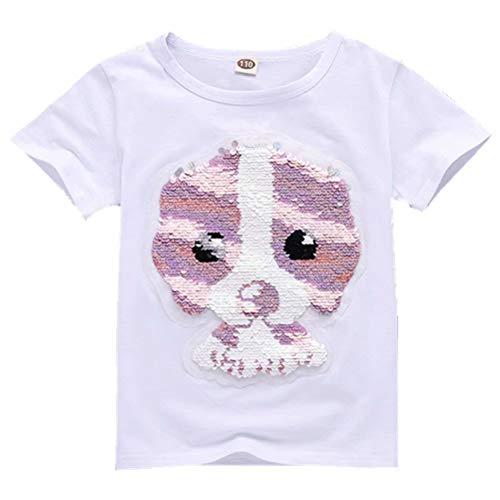 Tsyllyp Girls T-Shirt Dog Magic Sequin Summer Short Sleeve Tee Shirts Pullover]()