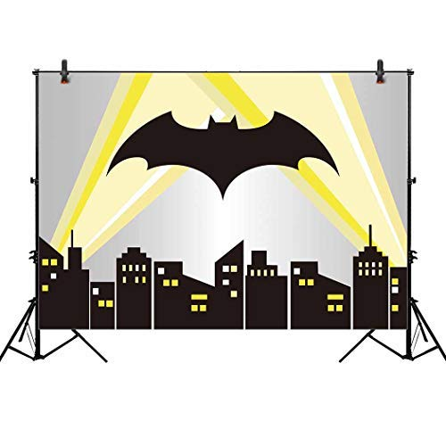 (Allenjoy 7x5ft Superhero Cityscape Backdrop Night Buildings Great as Super Hero Bat City Photo Booth Background boy 1st First Birthday Party and Event Banner Decorations Baby Shower Studio)