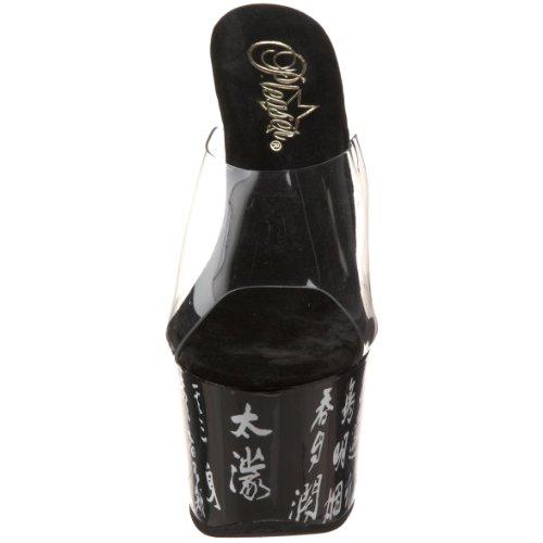 Pleaser SKY-301-3 - Sandalias de vestir para mujer Noir/Transparent