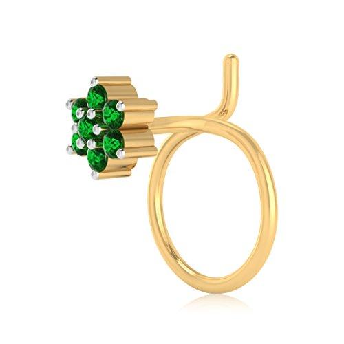 IskiUski 14KT Yellow Gold and Emerald Nose Pin for Women