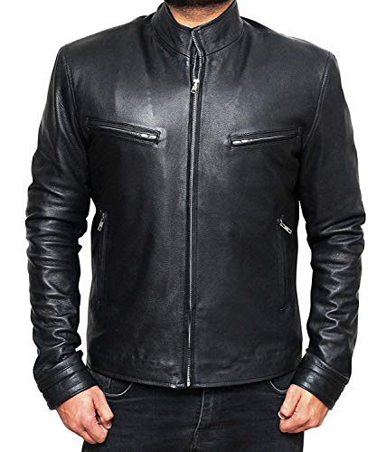 Cafe Racer Leather Moto Jacket - Casual Real Motorcycle Leather Jacket Men | Furious - (Mens Casual Motorcycle)