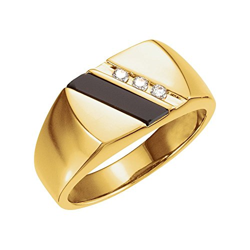 14k Yellow Gold Onyx & 1/10 Ct Diamond Men Gents Gemstone Ring