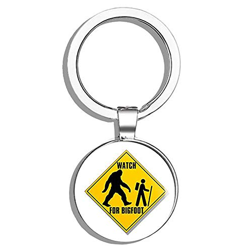 Watch for Bigfoot with Hiker Logo (Funny Hiking Sasquatch) Metal Round Metal Key Chain Keychain -