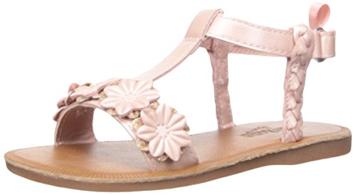 OshKosh B'Gosh Girls' Marian Flower T-Strap Sandal, Pink, 5 M US Toddler Girls Pink Flower Sandals
