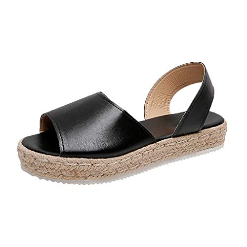 Womens Flatform Sandals Peep Toe Espadrilles Flat Sandal Slingback Wedges Casual Beach Shoes (US:8/ Size(CN):40, Black) - Faux Leather Wall Street