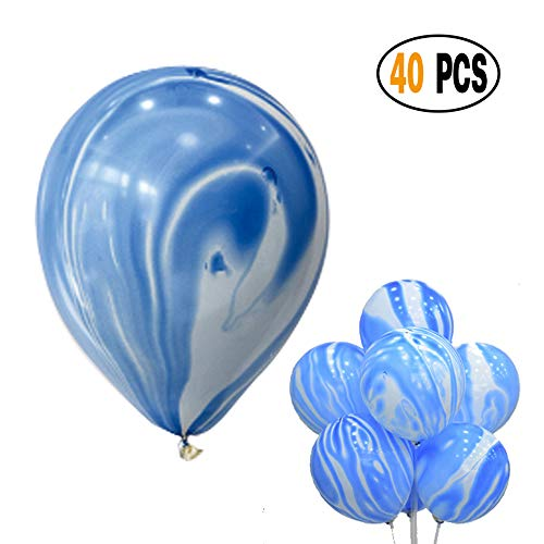 DIvine 40 Pcs/lot Blue Agate Marble Latex Balloons,Color Marble Tie Dye Swirl Effect Balloons for Wedding Birthday Baby Showers Christmas Festival Ceremony and Party Premium Quality Decoration