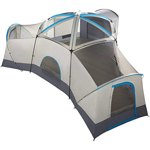 (Spacious Family Sized 16-Person Weather Resistant Ozark Trail 23.5' x 18.5' Cabin Camping Tent, Gray and Blue)