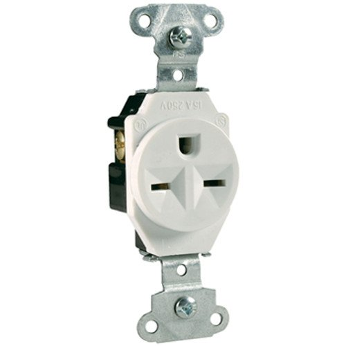 Legrand - Pass & Seymour 5651W Pass and Seymour White Industrial Single Outlet Receptacle Nema 6-15R 15A 250V