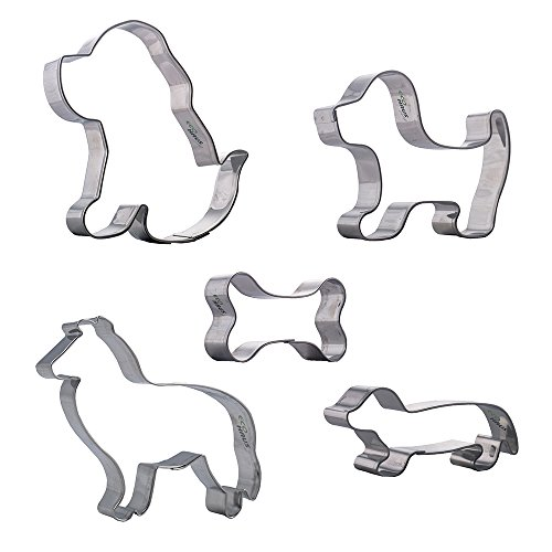 Eco Haus Living Dog Bone Cookie Cutter Set - 5 Pcs Stainless Steel Keks Cut with Puppy Dog Shaped - Easy To Clean - Ideal For Fruits Biscuits Fondant Dough Vegetables Sandwich