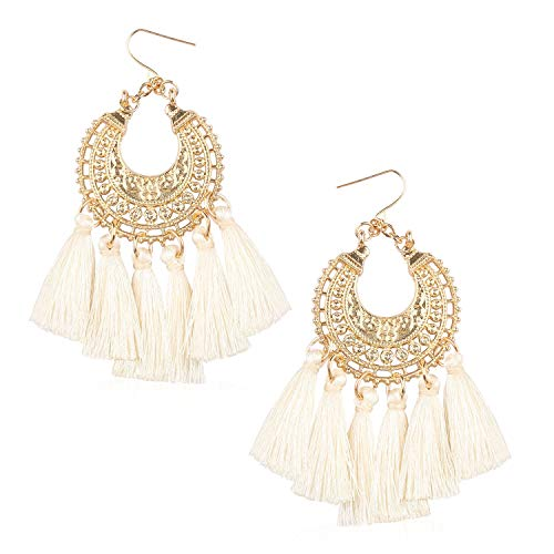 Tassel Hoop Statement Earrings for Women Girls Handmade Bohemian Alloy Thread Fringe Drop Dangle Trendy Vintage Light Hook Ear Jewelry Accessories Present for Friend with Gushion Gift Box GUE150 White