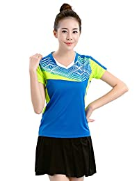 ZEVONDA T Shirt Round Neck Badminton Clothing Suit 2 PCS