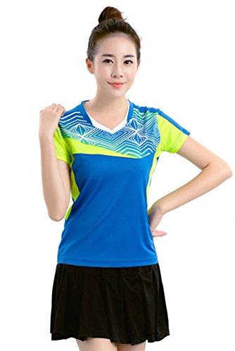 Badminton Clothing - KINDOYO Round Neck Short Sleeve T Shirt Sports Tops Badminton Clothing Suit 2 PCS, Blue-B-Womens, US S = Tag M