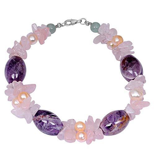 Sterling Silver Bracelet For Women | Multi Birthstone Bracelet | 47 Carat Multi Color Green Aventurine, Rose Quartz & Pearl Engagement Bracelet by Orchid Jewelry | Simple. Beautiful. Affordable. ()