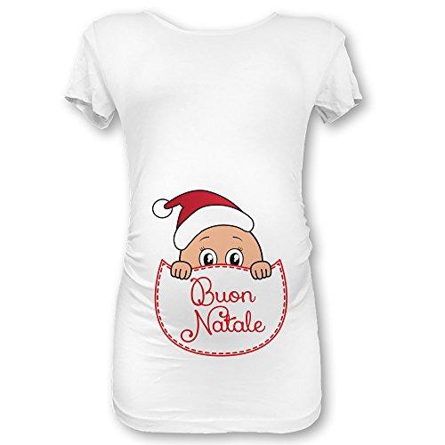 Manica Premaman Natalizia XL Maglia Shirt Babloo Buon Natale Natale Lunga T Bianca xRqFvw