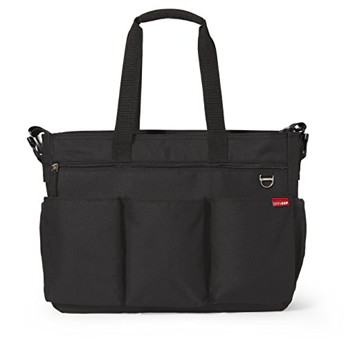 Skip Hop Diaper Bag Tote for Double Strollers with Matching Changing Pad, Duo Signature, Black ()