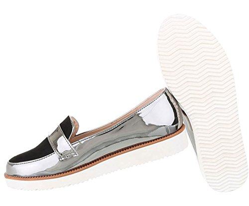 Damen Dandy Halbschuhe   Brogues Slip on   Schuhe Slipper   Metallic Slipper   Plateauschuhe zweifarbig   Damenschuhe Lack   Wedges Plateau Schuhe   Schuhcity24 Silber