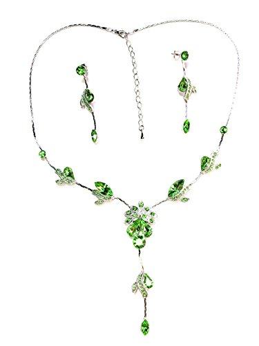 - Faship Gorgeous Green Crystal Necklace Earrings Set - Green/Peridot